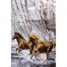 Running Wild Animal Horses Winter Snow White Brown Color Queen Mink Style Blanket