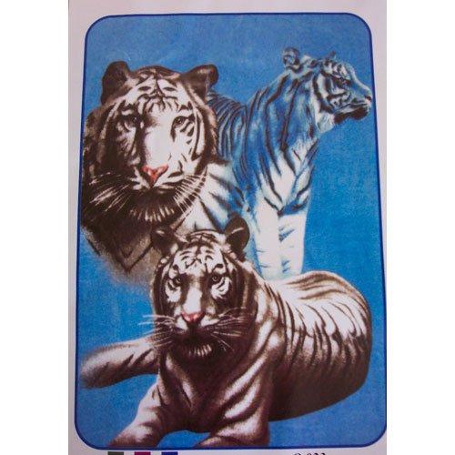 Three White Black Strip Big Cat Tiger Queen Mink Style Blanket
