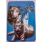 Three White Black Strip Big Cat Tiger Queen Mink Style Blanket