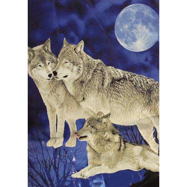 Three Wolfs Moon Night Sky Grey Dark Blue Color Queen Mink Style Blanket