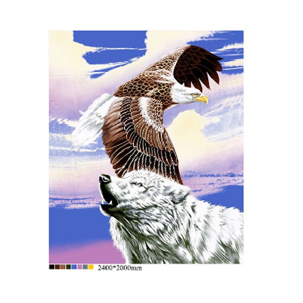 White Wolf American Bald Eagle Purple Sky Queen Mink Style Blanket