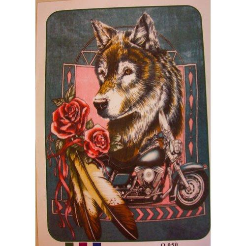 Wolf Motorcycle Roses Queen Mink Style Blanket Wild Animal Flower Bike Cover