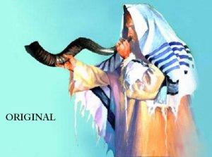 Rabbi w/ Shofar Talit Cross Stitch Pat Jewish Judaica ETP