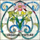 Art Nouveau Flower Cross Stitch Pat Stained Glass Look ETP