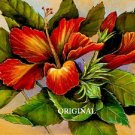 Flame Hibiscus Cross Stitch Pattern Hawaii Flowers ETP