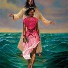 He Walks With Me Cross Stitch Pattern Black Jesus Christian ETP