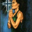 Black Lady Praying Cross Stitch Pattern African American ETP