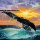 Whale of a Tail Cross Stitch Pattern Marine Cetacean ETP