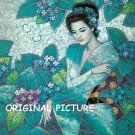 Teal Geisha Cross Stitch Pattern Asian Oriental ETP