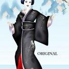 Black Kimono Geisha Cross Stitch Pattern Japanese Oriental ETP