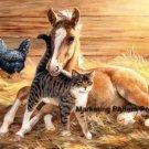 Foal and Cat Cross Stitch Pattern Horses ETP