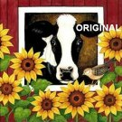 Cow With Sunflowers 2 Cross Stitch Pattern ETP