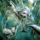 Dolphin Pod Playing Cross Stitch Pattern Marine Waterlife ETP