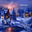Winter Sunset Cross Stitch Pattern Cottage Snowman ETP