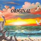 Pelican's Sunrise Cross Stitch Pattern Birds Seascape ETP