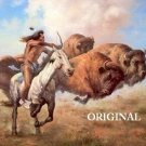 Buffalo Hunt Cross Stitch Pattern Native American ETP