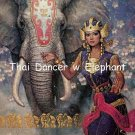 Thai Dancer w Elephant Cross Stitch Pattern Asian Oriental ETP