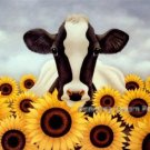 Cow With Sunflowers Cross Stitch Pattern Flowers ETP