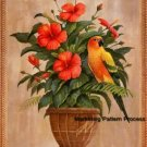 Sun Conure Parrot Hibiscus Cross Stitch Pattern Birds ETP