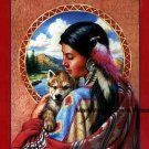 Indian Maiden w Wolf Cross Stitch Pattern Native American ETP