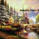 River Church Cross Stitch Pattern Christian ETP