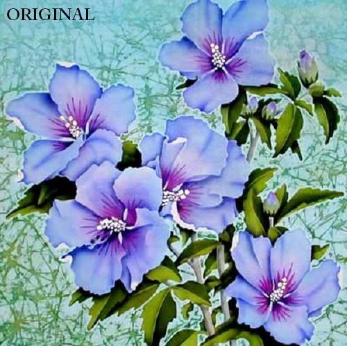 Цветы на батике фото
