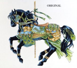 Peacock Carousel Horse Cross Stitch Pattern