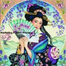 Geisha w Fan Cross Stitch Pattern Asian Oriental ETP