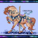 Blues Carousel Horse Cross Stitch Pattern Fantasy ~ETP~