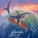 Surfin' Shark Cross Stitch Pattern Marine Fantasy ~ETP~