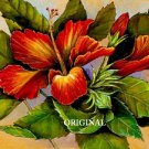 Flame Hibiscus Cross Stitch Pattern Hawaii Flowers ~ETP~