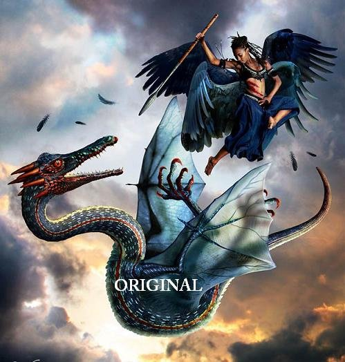 Angel & Dragon Cross Stitch Pattern Fantasy warfare ~ETP~