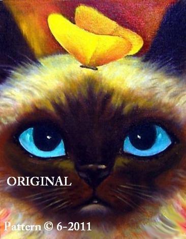 Blue Eyes & Butterflys Cross Stitch Pattern Cats ~ETP~