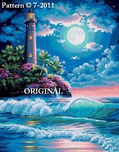 Lighthouse Moon II Cross Stitch Pattern ~ETP~