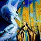 Princess & White Dragon Cross Stitch Pattern Fantasy