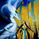 Princess & White Dragon Cross Stitch Pattern Fantasy