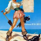 Pin Up Girl #1 Cross Stitch Pattern Pirate ~ETP~