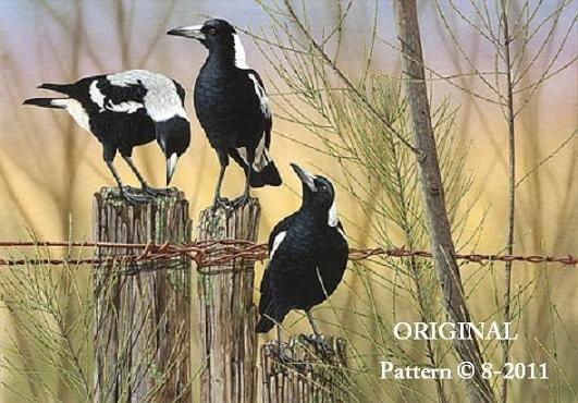 3 Magpies Cross Stitch Pattern Birds ~ETP~
