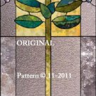 Art Deco Rose Cross Stitch Pattern Stained Glass Look ~ETP~