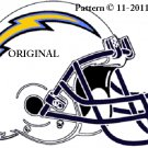 San Diego Chargers Helmet #1 Cross Stitch Pattern NFL Football