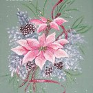 2 Pink Poinsettias Cross Stitch Pattern Christmas ~ETP~