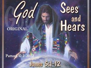 God Sees & Hears Cross Stitch Pattern Yeshua Jesus Messiah