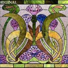 Art Nouveau Thistle Cross Stitch Pattern Stained Glass Look ~ETP~