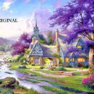 Cottage With Clock Tower Cross Stitch Pattern Kinkade ETP