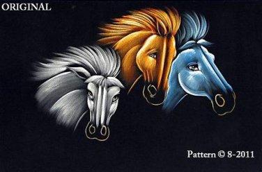 Black Velvet Horses Cross Stitch Pattern ETP
