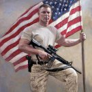 Soldier Defending America Cross Stitch Pattern US Flag Patriotic ETP