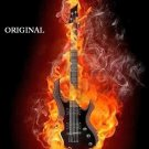 Fire Guitar Cross Stitch Pattern Music Instruments ETP