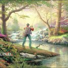 Forest Stream Fishing Cross Stitch Pattern Kinkade ETP
