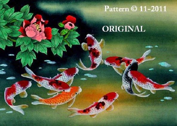 Oriental Koi 2 Cross Stitch Pattern Fish ETP