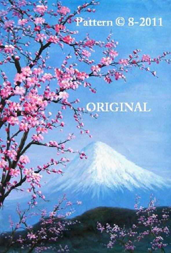 Mt. Fuji & Cherry Blossoms... ~Counted~ Cross Stitch Pattern ETP